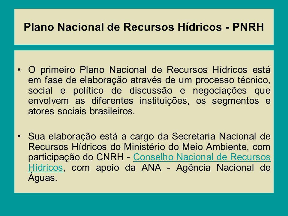 Plano Nacional de Recursos Hídricos - PNRH O primeiro Plano Nacional de Recursos Hídricos está em fase de elaboração através de um processo técnico, s