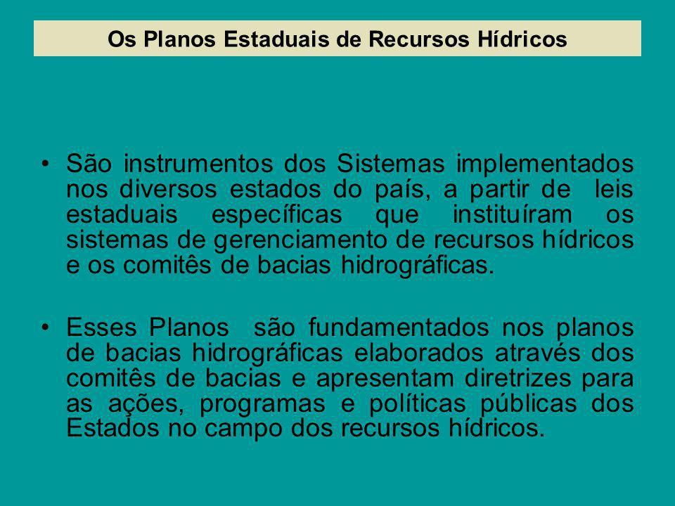 Os Planos Estaduais de Recursos Hídricos São instrumentos dos Sistemas implementados nos diversos estados do país, a partir de leis estaduais específi