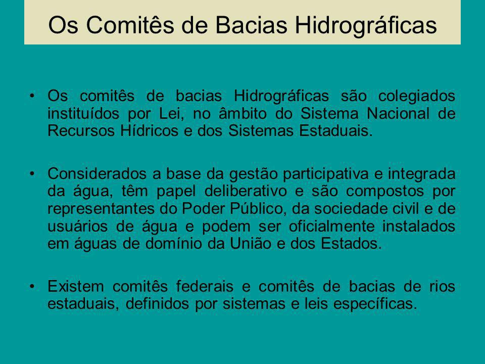 Os Comitês de Bacias Hidrográficas Os comitês de bacias Hidrográficas são colegiados instituídos por Lei, no âmbito do Sistema Nacional de Recursos Hí