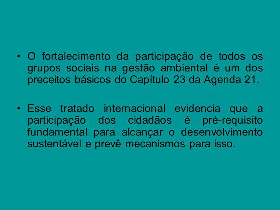 O fortalecimento da participação de todos os grupos sociais na gestão ambiental é um dos preceitos básicos do Capítulo 23 da Agenda 21. Esse tratado i