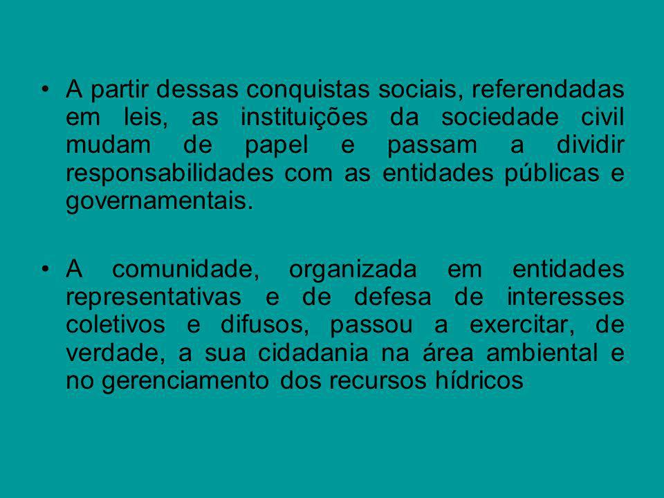 A partir dessas conquistas sociais, referendadas em leis, as instituições da sociedade civil mudam de papel e passam a dividir responsabilidades com a
