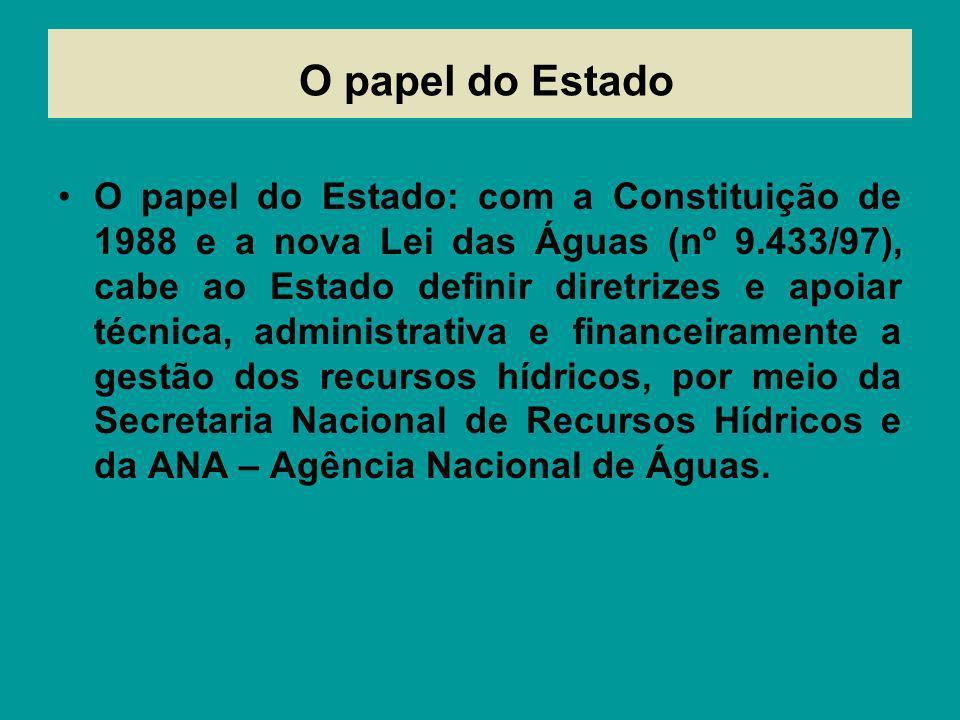 O papel do Estado O papel do Estado: com a Constituição de 1988 e a nova Lei das Águas (nº 9.433/97), cabe ao Estado definir diretrizes e apoiar técni