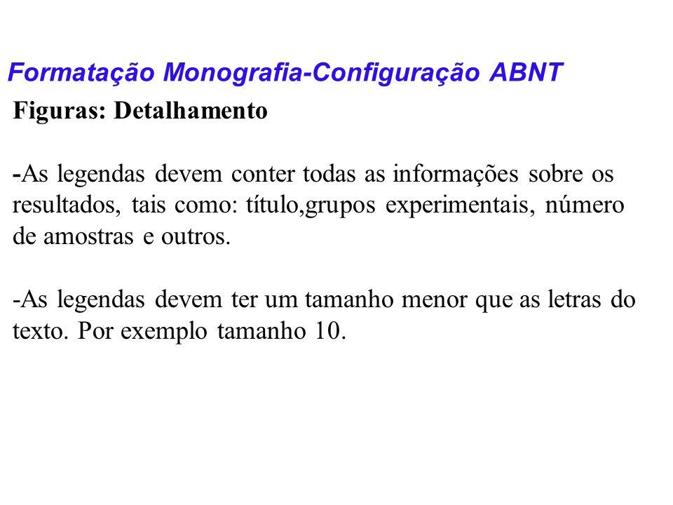 Formatação Monografia-Configuração ABNT Figuras: Detalhamento -As legendas devem conter todas as informações sobre os resultados, tais como: título,gr