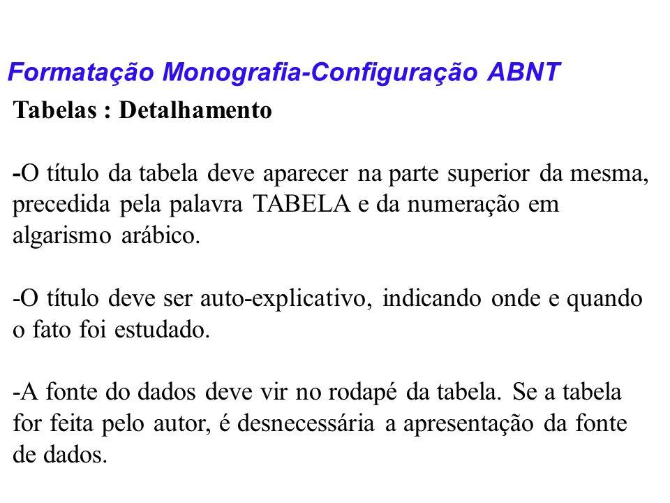 Formatação Monografia-Configuração ABNT Tabelas : Detalhamento -O título da tabela deve aparecer na parte superior da mesma, precedida pela palavra TA