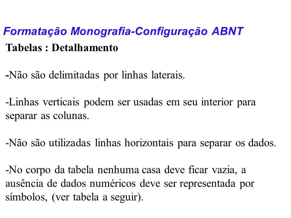 Formatação Monografia-Configuração ABNT Tabelas : Detalhamento -Não são delimitadas por linhas laterais. -Linhas verticais podem ser usadas em seu int