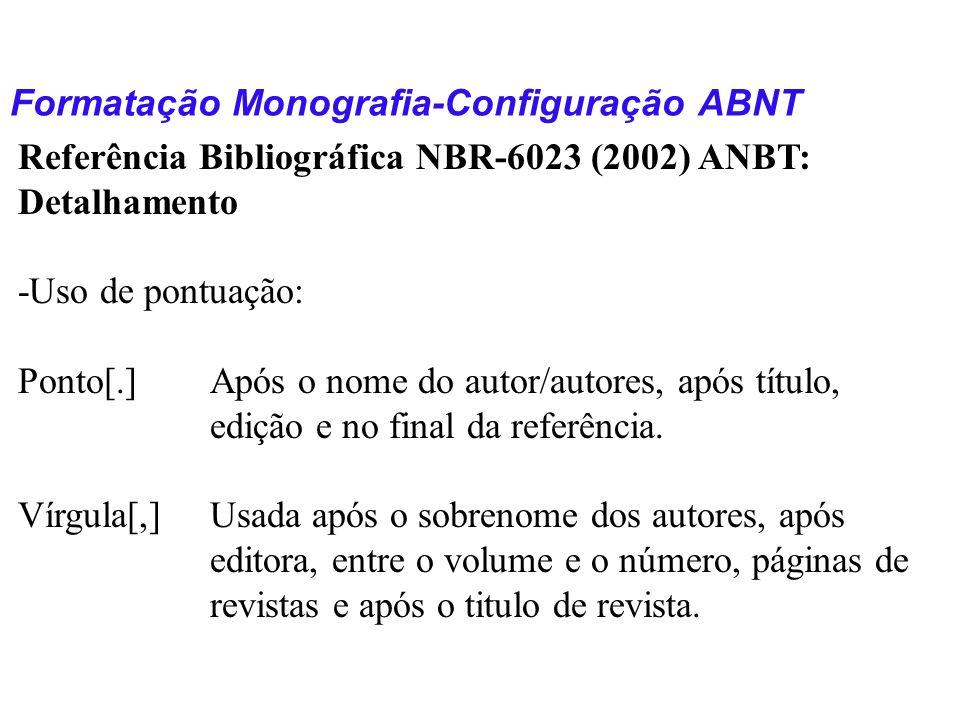 Formatação Monografia-Configuração ABNT Referência Bibliográfica NBR-6023 (2002) ANBT: Detalhamento -Uso de pontuação: Ponto[.]Após o nome do autor/au