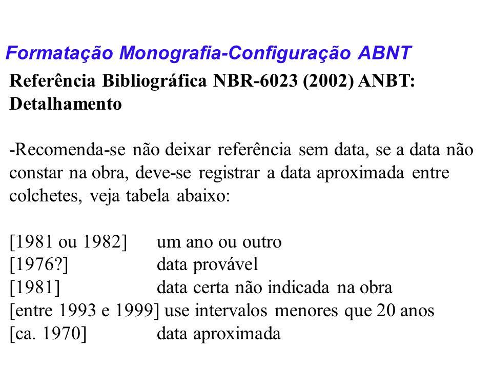Formatação Monografia-Configuração ABNT Referência Bibliográfica NBR-6023 (2002) ANBT: Detalhamento -Recomenda-se não deixar referência sem data, se a
