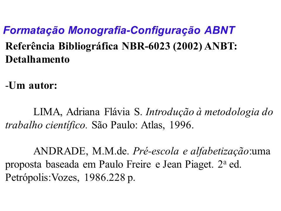 Formatação Monografia-Configuração ABNT Referência Bibliográfica NBR-6023 (2002) ANBT: Detalhamento -Um autor: LIMA, Adriana Flávia S. Introdução à me