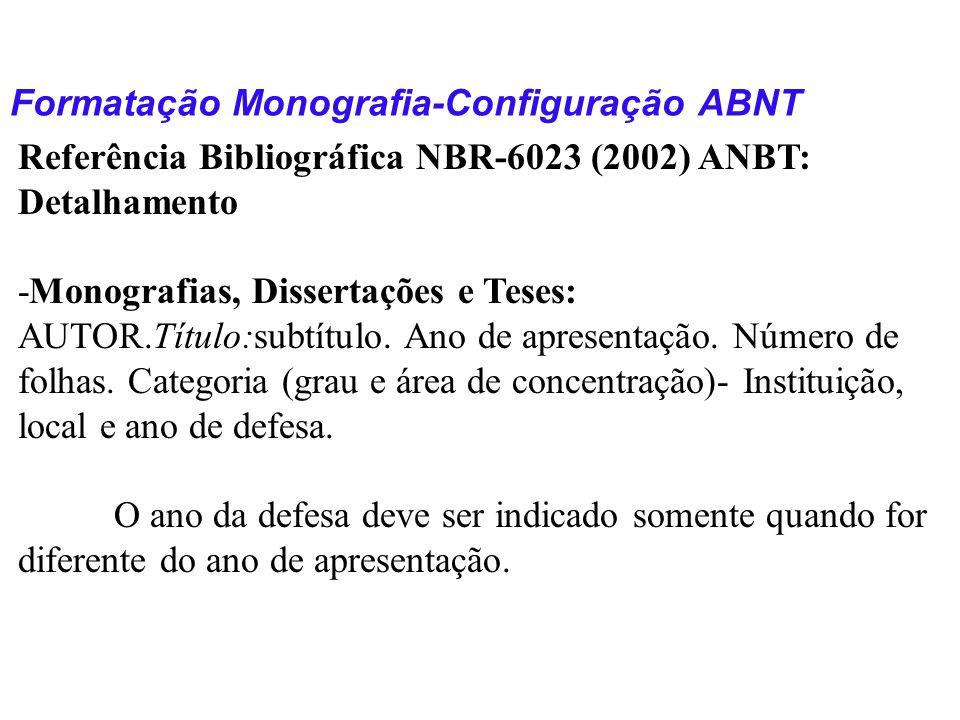 Formatação Monografia-Configuração ABNT Referência Bibliográfica NBR-6023 (2002) ANBT: Detalhamento -Monografias, Dissertações e Teses: AUTOR.Título:s