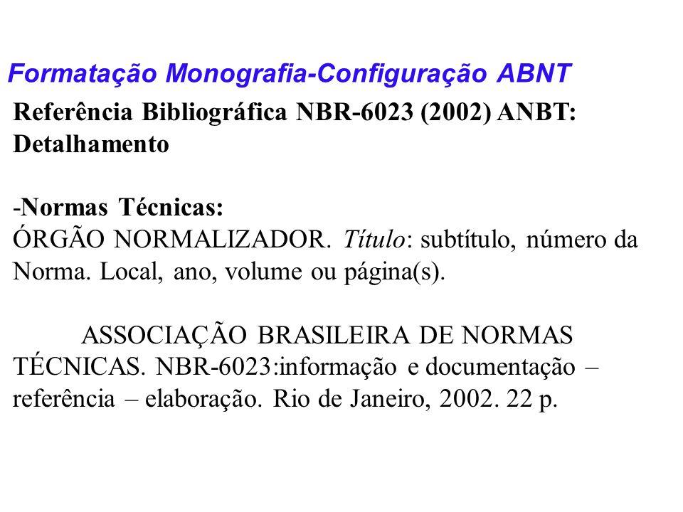 Formatação Monografia-Configuração ABNT Referência Bibliográfica NBR-6023 (2002) ANBT: Detalhamento -Normas Técnicas: ÓRGÃO NORMALIZADOR. Título: subt