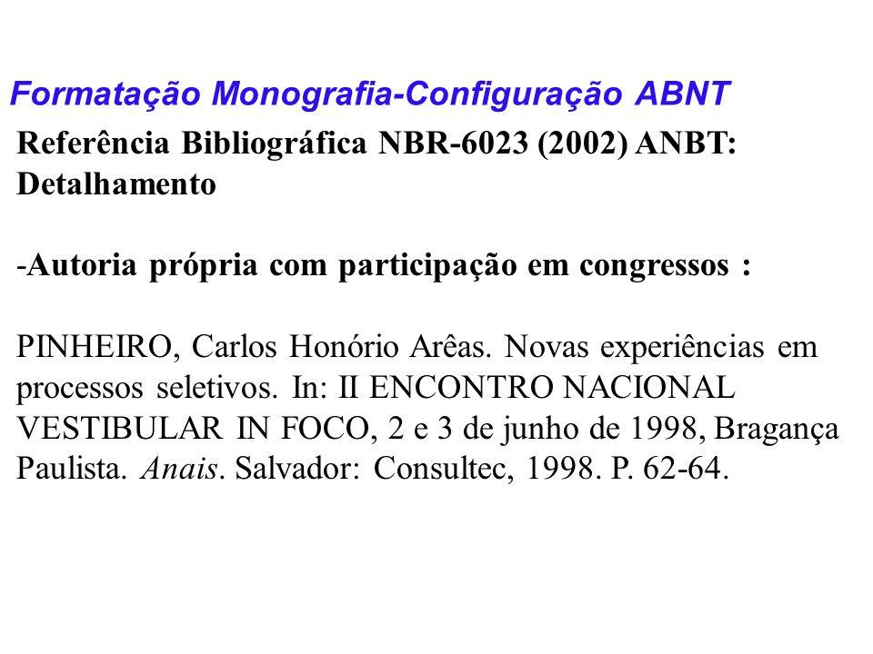 Formatação Monografia-Configuração ABNT Referência Bibliográfica NBR-6023 (2002) ANBT: Detalhamento -Autoria própria com participação em congressos :