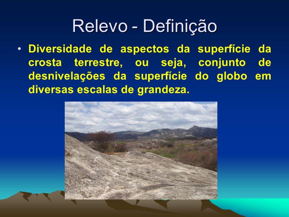 Relevo - Definição Diversidade de aspectos da superfície da crosta terrestre, ou seja, conjunto de desnivelações da superfície do globo em diversas es