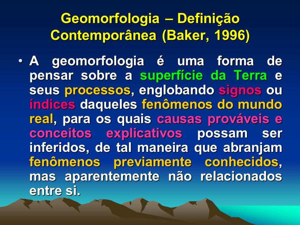 Geomorfologia – Definição Contemporânea (Baker, 1996) A geomorfologia é uma forma de pensar sobre a superfície da Terra e seus processos, englobando s