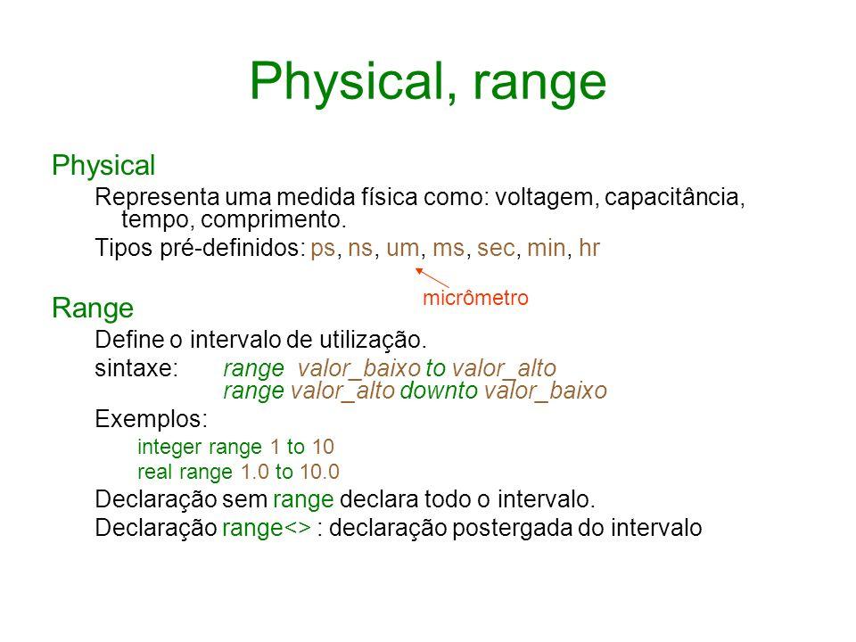 Physical, range Physical Representa uma medida física como: voltagem, capacitância, tempo, comprimento. Tipos pré-definidos: ps, ns, um, ms, sec, min,