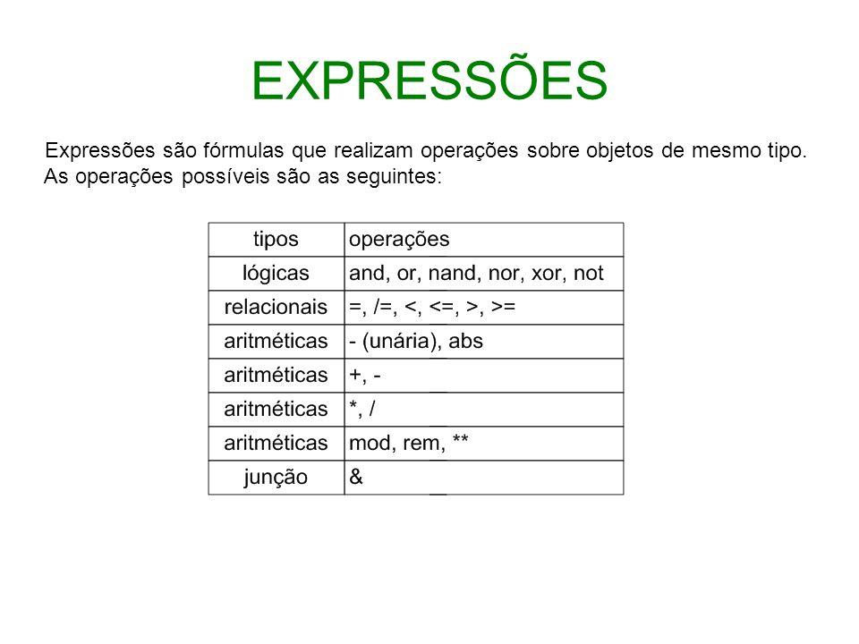 EXPRESSÕES Expressões são fórmulas que realizam operações sobre objetos de mesmo tipo. As operações possíveis são as seguintes: