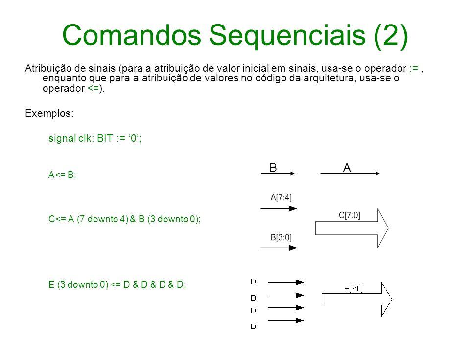 Comandos Sequenciais (2) Atribuição de sinais (para a atribuição de valor inicial em sinais, usa-se o operador :=, enquanto que para a atribuição de v