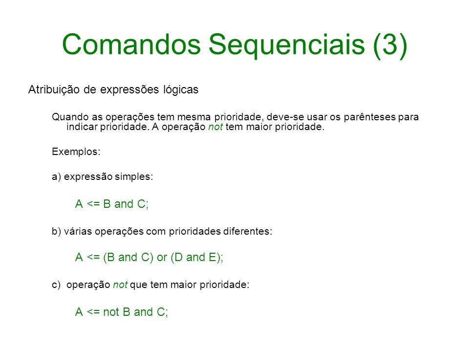 Comandos Sequenciais (3) Atribuição de expressões lógicas Quando as operações tem mesma prioridade, deve-se usar os parênteses para indicar prioridade