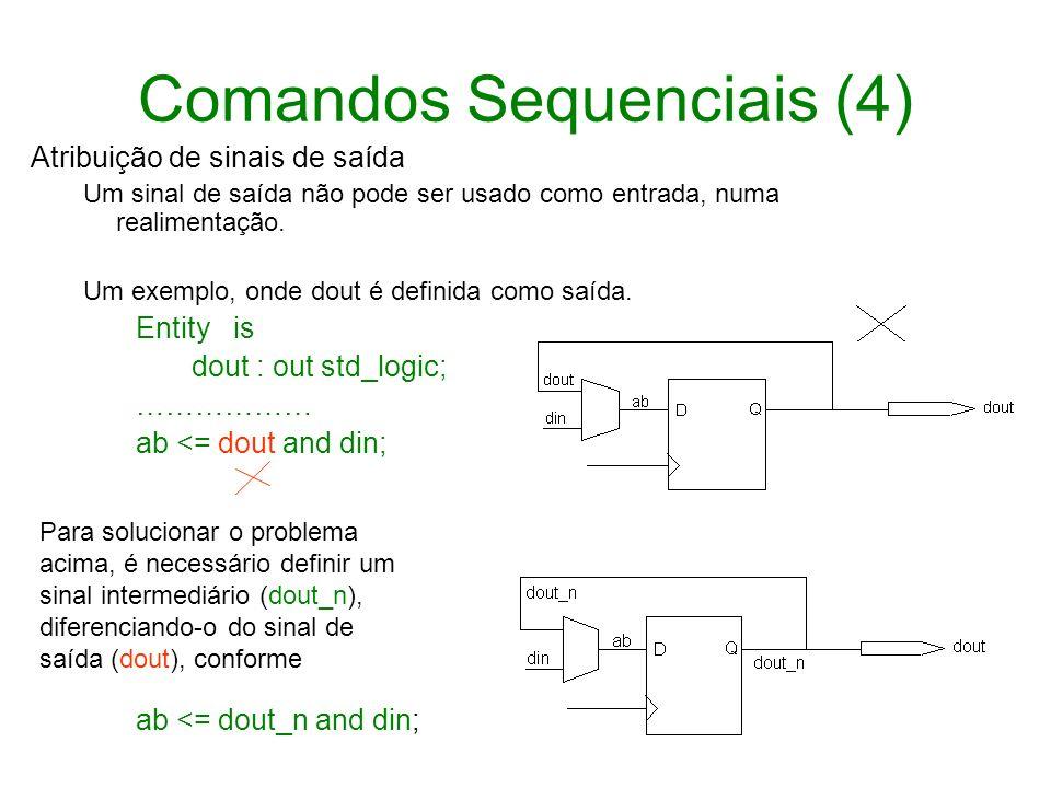 Comandos Sequenciais (4) Atribuição de sinais de saída Um sinal de saída não pode ser usado como entrada, numa realimentação. Um exemplo, onde dout é