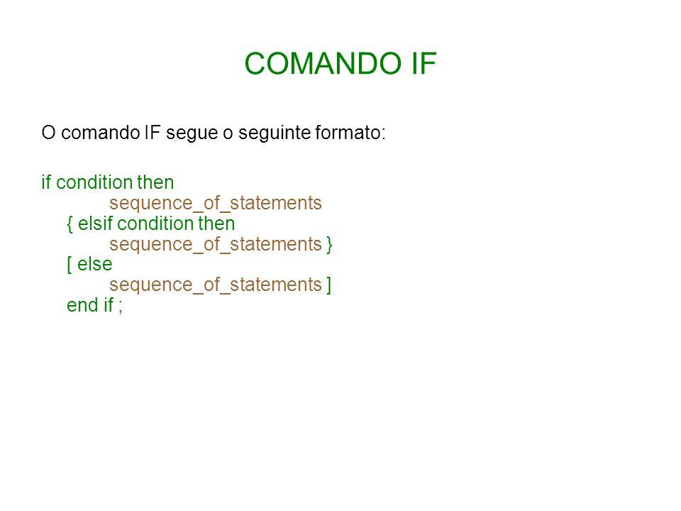 COMANDO IF O comando IF segue o seguinte formato: if condition then sequence_of_statements { elsif condition then sequence_of_statements } [ else sequ