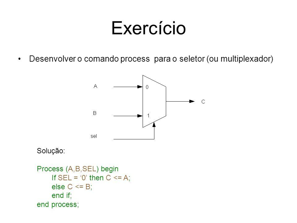 Exercício Desenvolver o comando process para o seletor (ou multiplexador) Solução: Process (A,B,SEL) begin If SEL = 0 then C <= A; else C <= B; end if