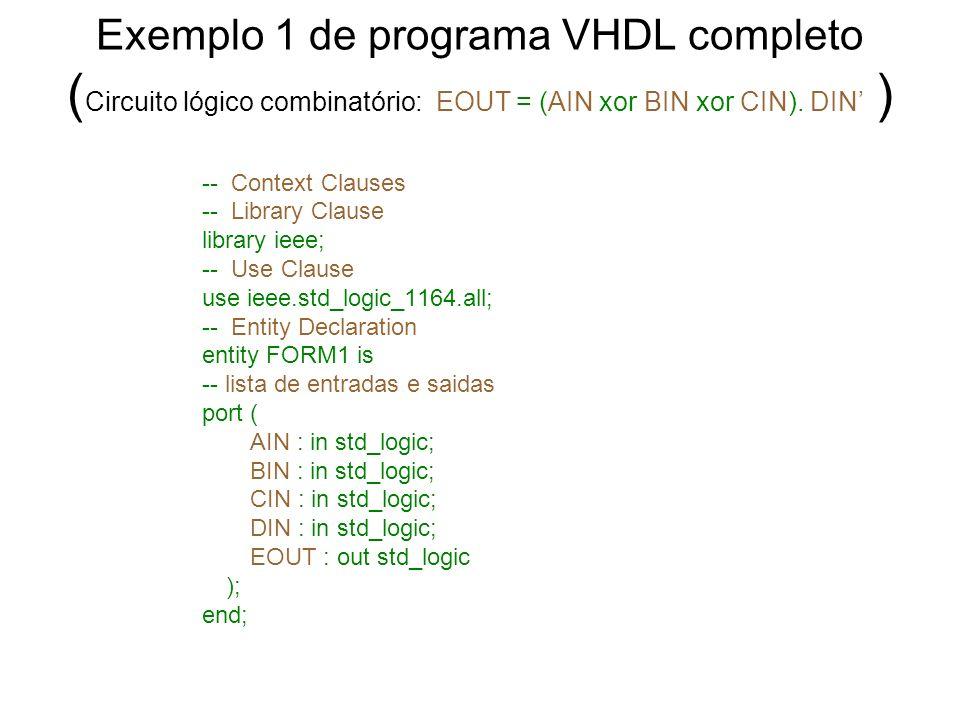 Exemplo 1 de programa VHDL completo ( Circuito lógico combinatório: EOUT = (AIN xor BIN xor CIN). DIN ) -- Context Clauses -- Library Clause library i