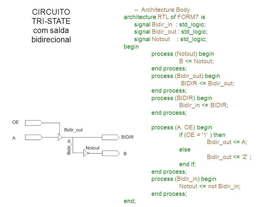 CIRCUITO TRI-STATE com saída bidirecional -- Architecture Body architecture RTL of FORM7 is signal Bidir_in : std_logic; signal Bidir_out : std_logic;