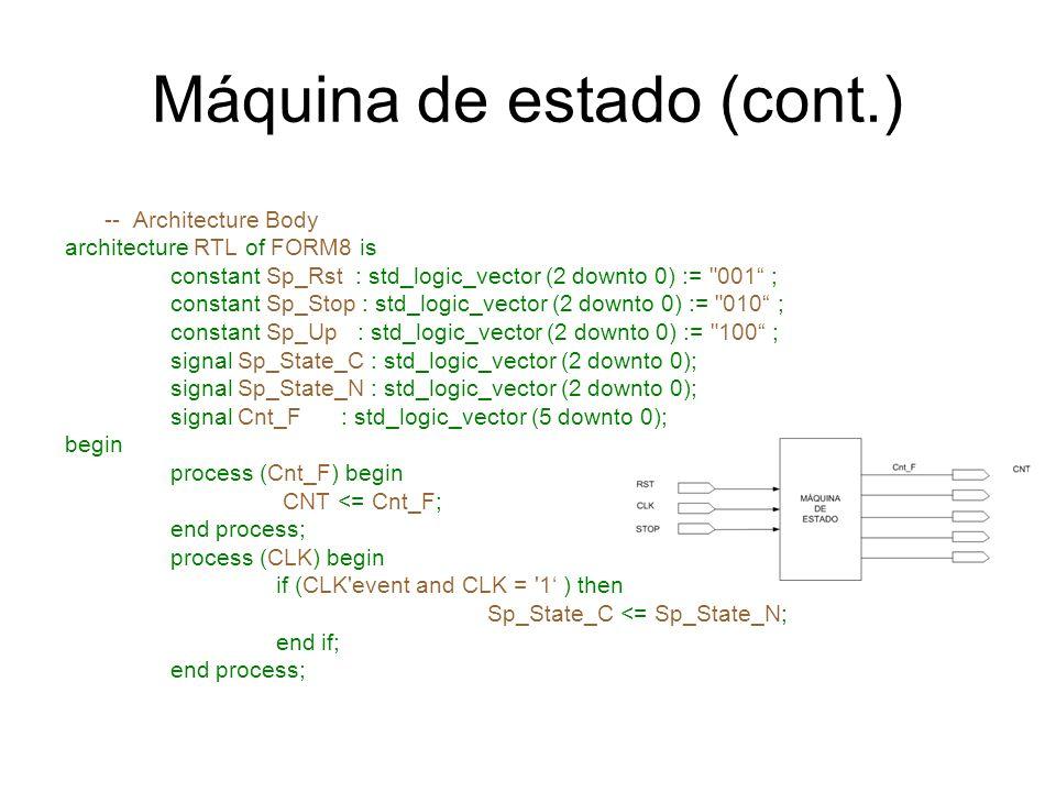Máquina de estado (cont.) -- Architecture Body architecture RTL of FORM8 is constant Sp_Rst : std_logic_vector (2 downto 0) :=