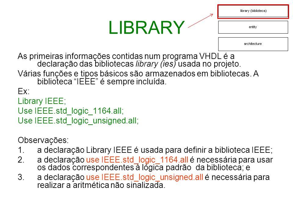 ENTITY O entity define a interface(port) do projeto, através dos pinos de entrada (in) e saída (out) e o tipo do sinal correspondente, no seguinte formato: entity nome_da_entity is port ( Declaração dos pinos ); end [nome_da_entity] ; Exemplo: entity COMPARA is port ( A,B: in std_logic; C: out std_logic); end COMPARA; Interfaces definidas através do exemplo de entity.