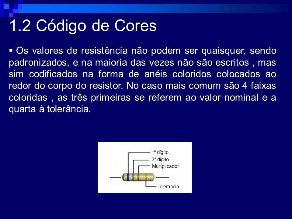 1.2 Código de Cores Os valores de resistência não podem ser quaisquer, sendo padronizados, e na maioria das vezes não são escritos, mas sim codificado