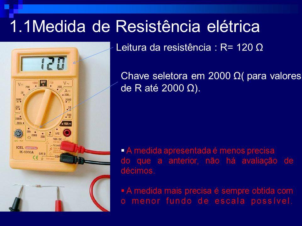 1.1Medida de Resistência elétrica Chave seletora em 2000 Ω( para valores de R até 2000 Ω). Leitura da resistência : R= 120 Ω A medida apresentada é me
