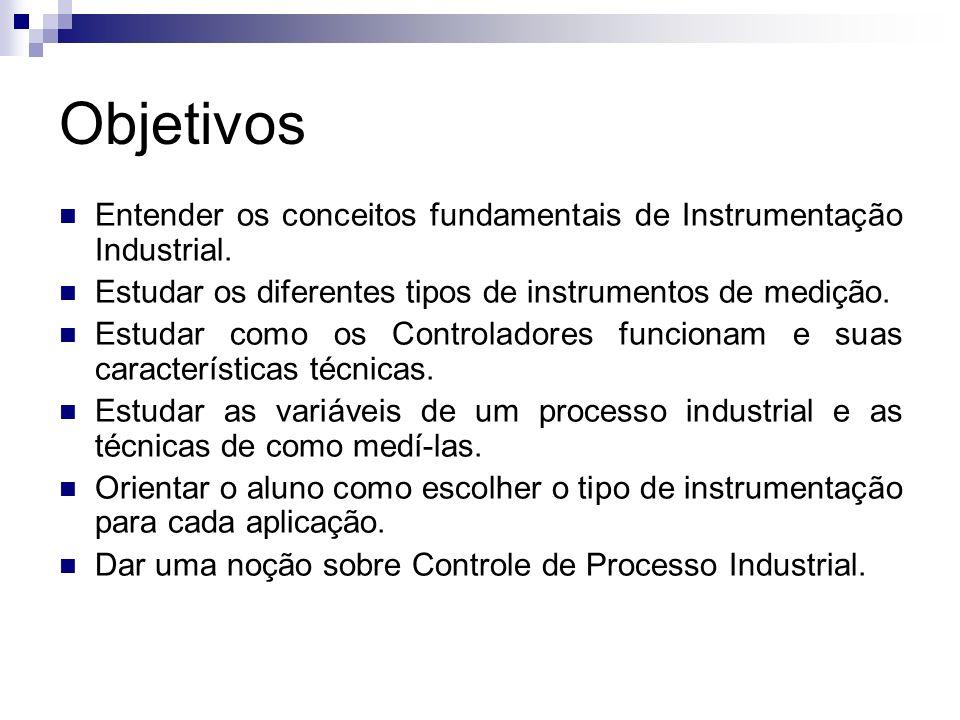 Objetivos Entender os conceitos fundamentais de Instrumentação Industrial. Estudar os diferentes tipos de instrumentos de medição. Estudar como os Con