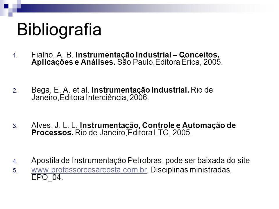 Bibliografia 1. Fialho, A. B. Instrumentação Industrial – Conceitos, Aplicações e Análises. São Paulo,Editora Érica, 2005. 2. Bega, E. A. et al. Instr