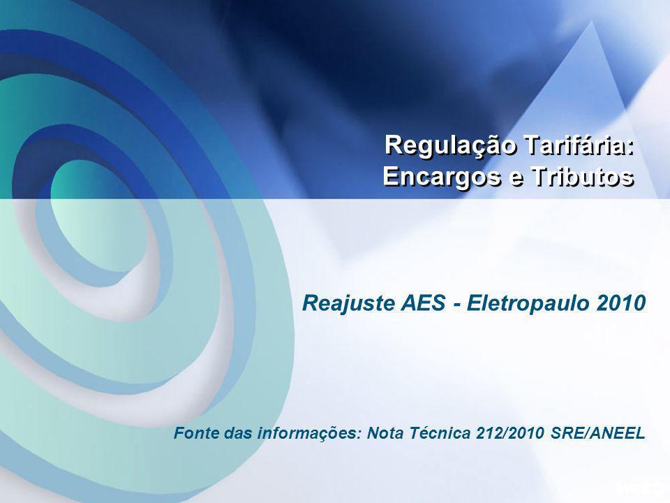 Regulação Tarifária: Encargos e Tributos Reajuste AES - Eletropaulo 2010 Fonte das informações: Nota Técnica 212/2010 SRE/ANEEL 19