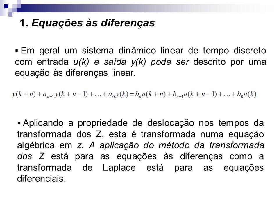 1. Equações às diferenças Em geral um sistema dinâmico linear de tempo discreto com entrada u(k) e saída y(k) pode ser descrito por uma equação às dif