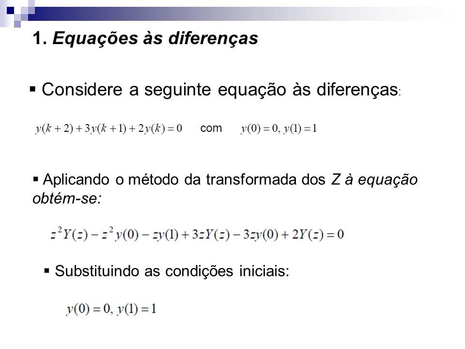 1. Equações às diferenças Considere a seguinte equação às diferenças : Aplicando o método da transformada dos Z à equação obtém-se: Substituindo as co