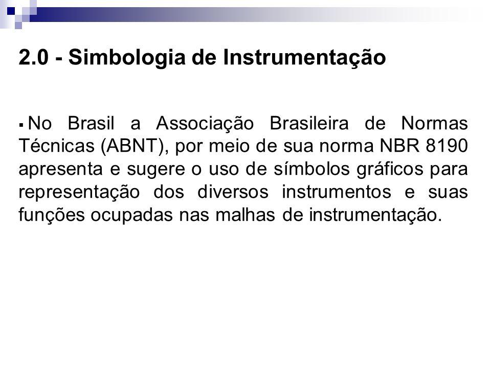 2.0 - Simbologia de Instrumentação No Brasil a Associação Brasileira de Normas Técnicas (ABNT), por meio de sua norma NBR 8190 apresenta e sugere o us