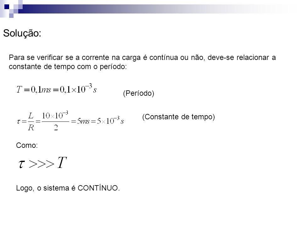 Solução: Para se verificar se a corrente na carga é contínua ou não, deve-se relacionar a constante de tempo com o período: (Período) (Constante de te