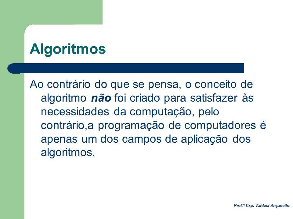 Prof.º Esp. Valdeci Ançanello Algoritmos Ao contrário do que se pensa, o conceito de algoritmo não foi criado para satisfazer às necessidades da compu