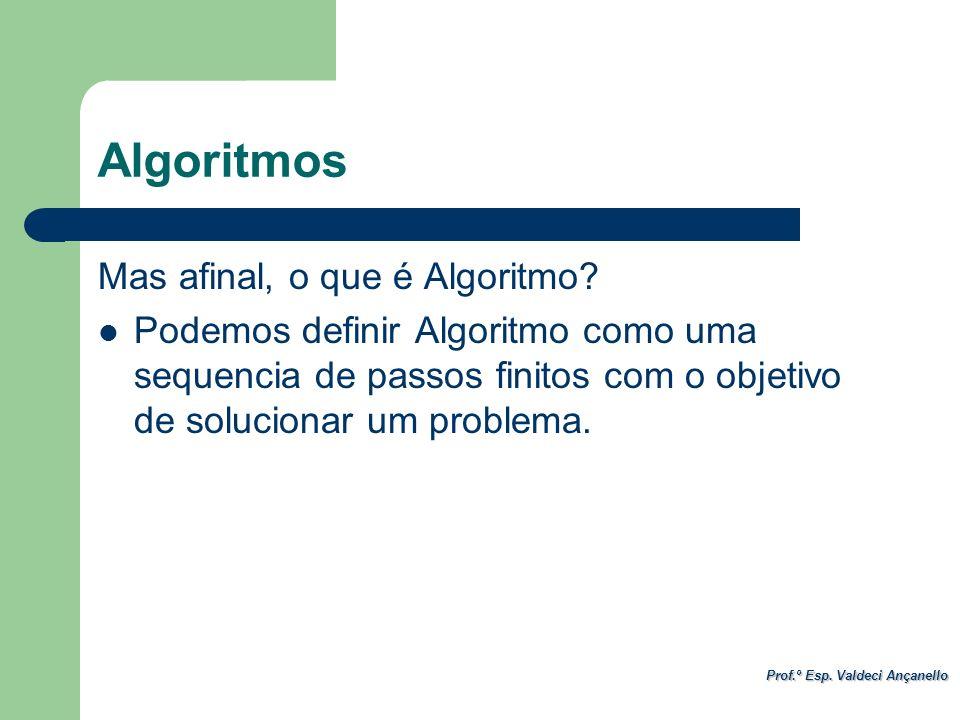 Prof.º Esp. Valdeci Ançanello Mas afinal, o que é Algoritmo? Podemos definir Algoritmo como uma sequencia de passos finitos com o objetivo de solucion