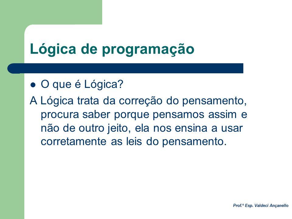 Prof.º Esp. Valdeci Ançanello Lógica de programação O que é Lógica? A Lógica trata da correção do pensamento, procura saber porque pensamos assim e nã