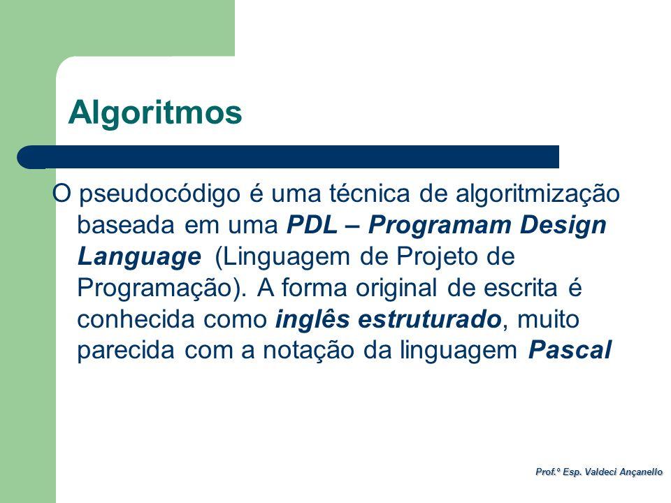 Prof.º Esp. Valdeci Ançanello Algoritmos O pseudocódigo é uma técnica de algoritmização baseada em uma PDL – Programam Design Language (Linguagem de P