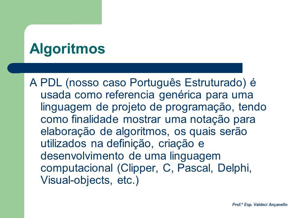 Prof.º Esp. Valdeci Ançanello Algoritmos A PDL (nosso caso Português Estruturado) é usada como referencia genérica para uma linguagem de projeto de pr