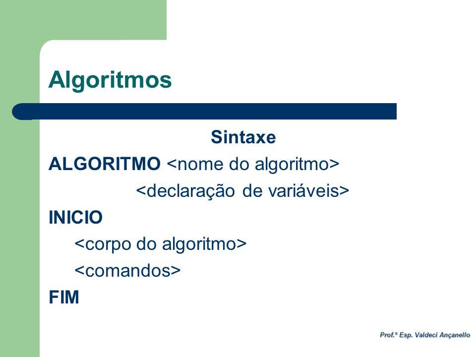 Prof.º Esp. Valdeci Ançanello Sintaxe ALGORITMO INICIO FIM Algoritmos
