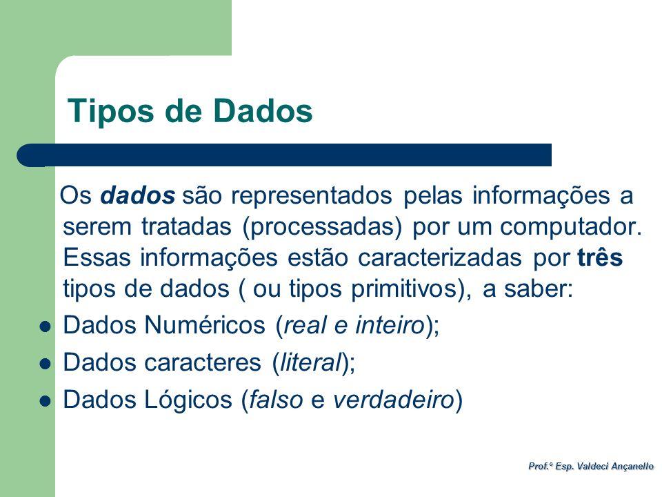 Prof.º Esp. Valdeci Ançanello Tipos de Dados Os dados são representados pelas informações a serem tratadas (processadas) por um computador. Essas info