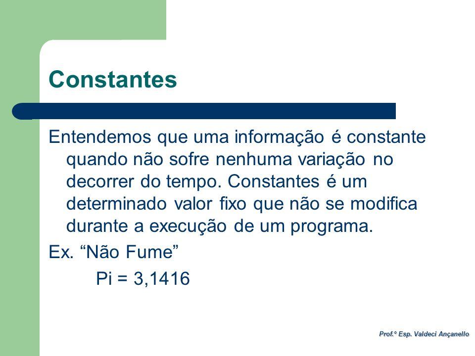Prof.º Esp. Valdeci Ançanello Constantes Entendemos que uma informação é constante quando não sofre nenhuma variação no decorrer do tempo. Constantes