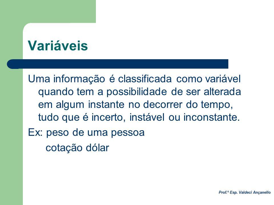 Prof.º Esp. Valdeci Ançanello Variáveis Uma informação é classificada como variável quando tem a possibilidade de ser alterada em algum instante no de