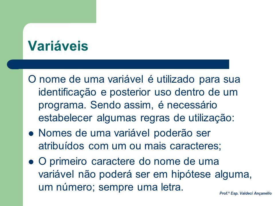 Prof.º Esp. Valdeci Ançanello Variáveis O nome de uma variável é utilizado para sua identificação e posterior uso dentro de um programa. Sendo assim,