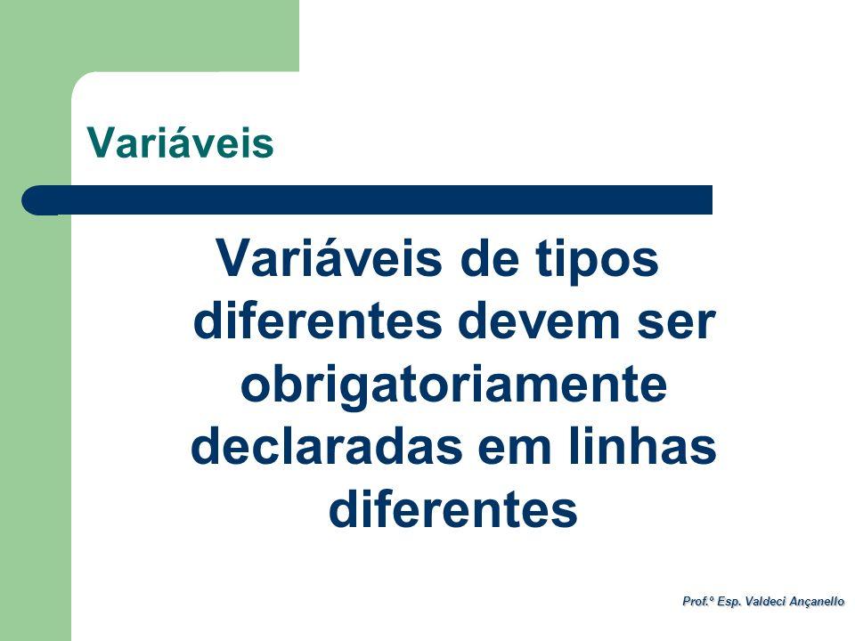Prof.º Esp. Valdeci Ançanello Variáveis Variáveis de tipos diferentes devem ser obrigatoriamente declaradas em linhas diferentes