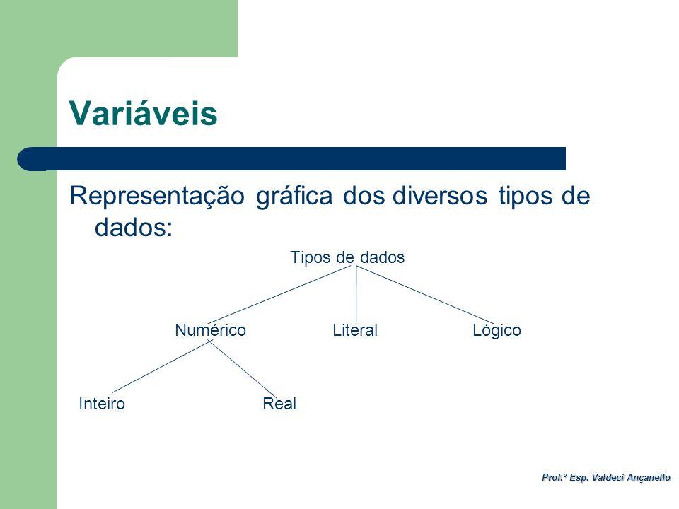Prof.º Esp. Valdeci Ançanello Variáveis Representação gráfica dos diversos tipos de dados: Tipos de dados Numérico Literal Lógico Inteiro Real