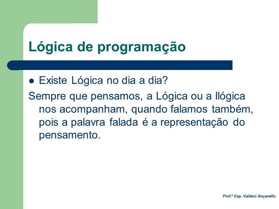 Prof.º Esp. Valdeci Ançanello Lógica de programação Existe Lógica no dia a dia? Sempre que pensamos, a Lógica ou a Ilógica nos acompanham, quando fala